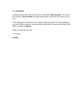Condolence Email