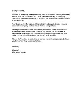 Example Of Condolence Letter Business